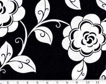 1 Yard 12 Inches, VIP Large White Flowers on Black