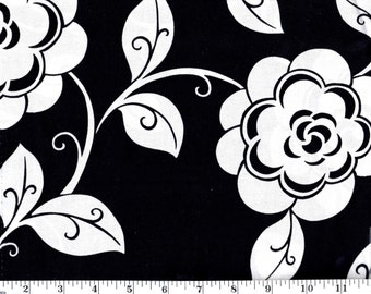1 Yard, VIP Large White Flowers on Black