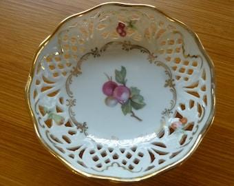 Vintage Bavarian Porcelain Dish Trinket Tray Cut Out Open Design Fruit Design Made by Schumann-Arzberg 1950's