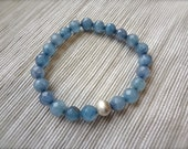 Faceted Blue Tourmaline Bracelet-Healing-Detoxification Stone-SemiPrecious Mineral