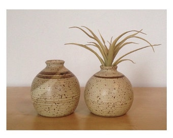 Pair of Small Studio Pottery Bud Vases/Weed Pots