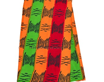 Orange Red Green Tribal print /African Fabric Shop / African Fabric Wholesale / African Supplies / Sold by the Yard  TP18