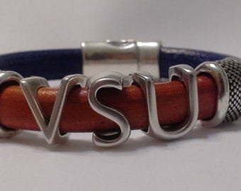 Virginia State University - Leather Bracelet - Jewelry - VSU Trojan - Orange Blue - HBCU - Gift - Alumni