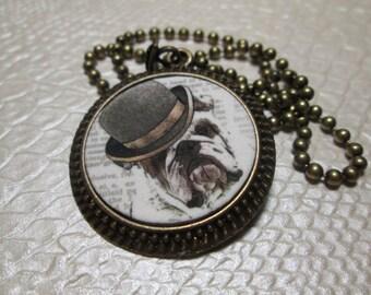 Steampunk Bulldog Necklace: Bronze Round Chain Pendant