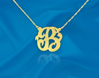 Initial Necklace  24K Gold Plated Silver Personalized Name Initial Necklace with Initial of Your Choice - Made in USA
