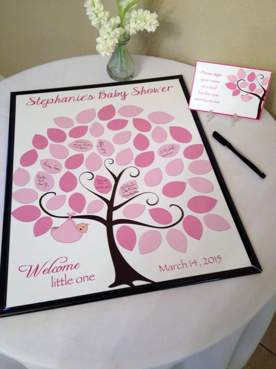 baby shower guest 16x20 sign in tree poster baby shower guest book