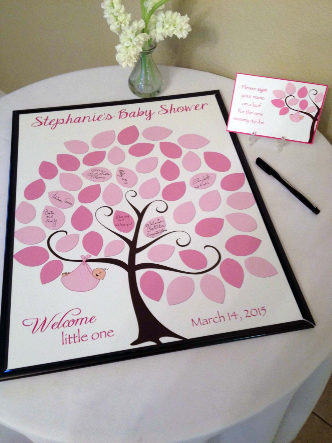Baby Shower Guest 16x20 SignIn Tree Poster Baby Shower