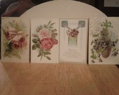 Vintage Flower Design Postcards - Early 1900s - Set of Four - LOT 9