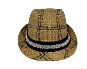 Plaid bling fedora hat
