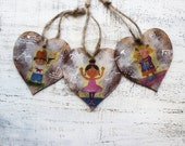 Kids wooden heart ornaments baby shower gift for teacher mom nursery decor for children
