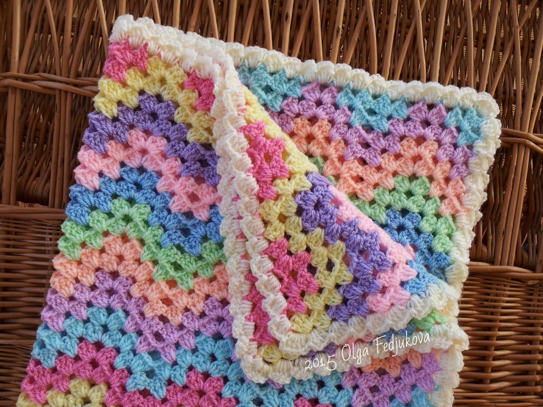 Crochet Zigzag Blanket : Crochet Ripple Baby Blanket Zigzag Striped Pastel by OlgaSoleil