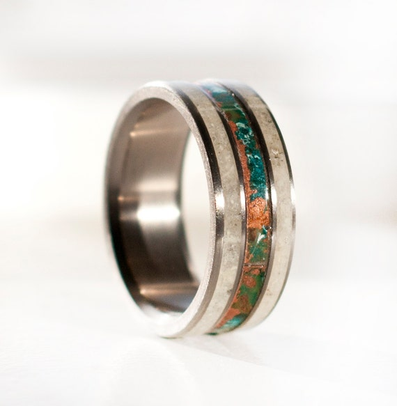 Mens wedding band 3 channel patina copper antler ring for Mens copper wedding rings