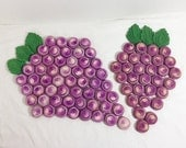 Vintage Crochet Grape Cluster Bottle Cap Trivet Hot Pad Set of 2 Kitchen Housewares Home Goods