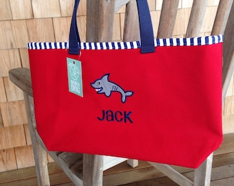 Kids Personalized Red Canvas Tote with Shark Design