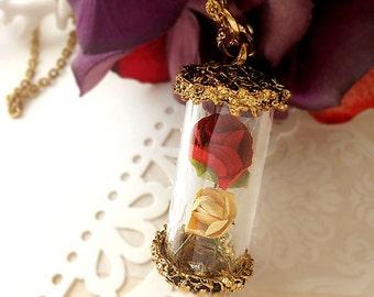 "DARKWHISPER Vintage Beauty & the Beast ""Rose in glass bottle"" Handmade Romantic Fairy Tale Pendant Necklace Valentine's Day"