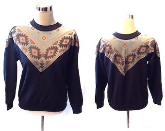 Vintage 1990s Sweater Medium Blue Southwest Aztec Navajo Geometric Hanes Retro Southwest Design