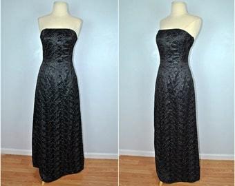 Jessica McClintock Black Formal Dress, Vintage Formal Black Dress With Silver Threads