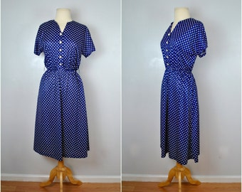 1970s Navy Blue and White Polka Dot Dress, Vintage Polka Dot Dress