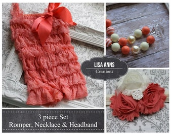 Coral Lace Romper Set  Chunky Necklace & Headband Cake Smash 1st Birthday Wedding outfit Spring Easter Outfit Petti Romper Baby Girl Romper