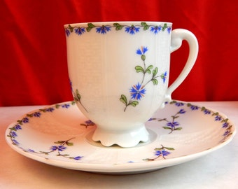 Royal Limoges - Cup & Saucer Blue Floral - Stunning Collectable Tea Cup and Saucer