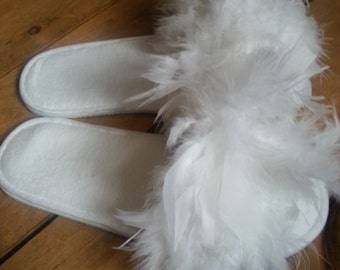 Fluffy bride slippers. Feathers. White wedding. Made by a stay at home veteran.