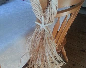 Wedding chair starfish hangers. Set of 12. One dozen Raffia hangers.