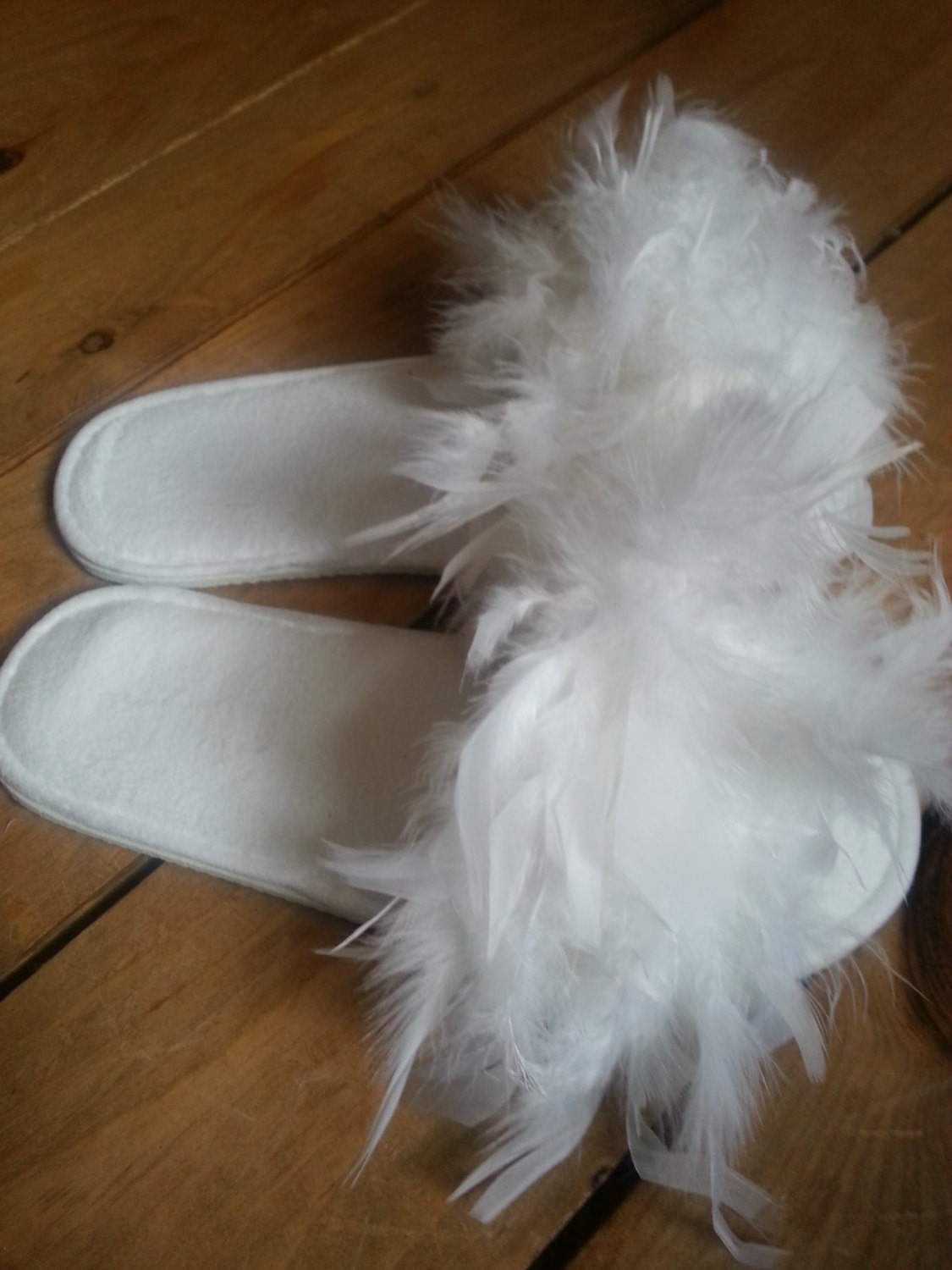 Fluffy Bride Slippers Feathers White Wedding Made By A Stay