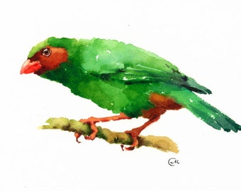 Watercolor Bird - Original Painting Grass-green Tanager 7 x 10 inches