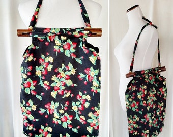 Vintage Strawberry Fabric Tote with Wooden Handles
