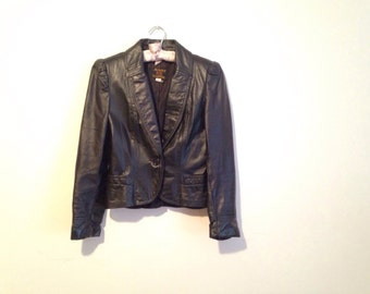 Black leather blazer, tailored motorcycle jacket, XS to small - Vintage