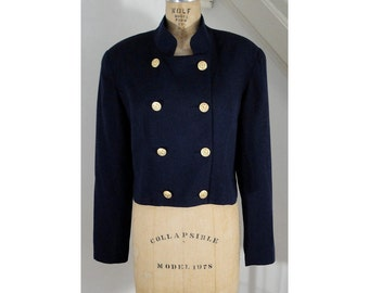 1980s Vintage Navy Military Double Breasted Stand Collar Blazer