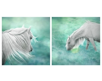 Set of 2, Fantasy art, surreal horse photo, magical, nursery art, whimsical art, girls wall decor, green, mint, teal, aqua