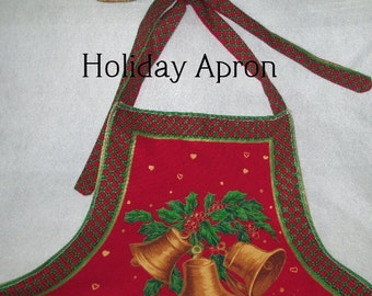 RED HOLIDAY APRON Seasonal Home Décor Gift Hostess Item