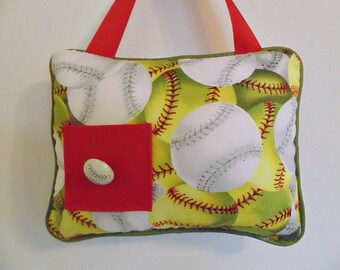 Sports Tooth Fairy Pillow, Boys Baseball Pillow, Personalized Pillow , Boys Hanging Pillow