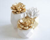 Sale: Gold Set of 3 Succulents in Hexagonal, Tri-Level Containers, Tabletop, Desktop, Modern, Home and Office Decor