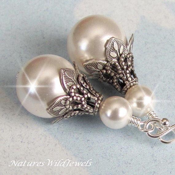 Vintage Style Earrings: Bridal Pearl Earrings Vintage Style Wedding By