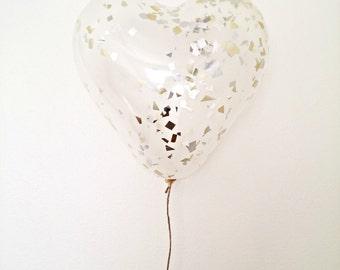 "SPARKLE  - 15"" Confetti Heart Balloon"