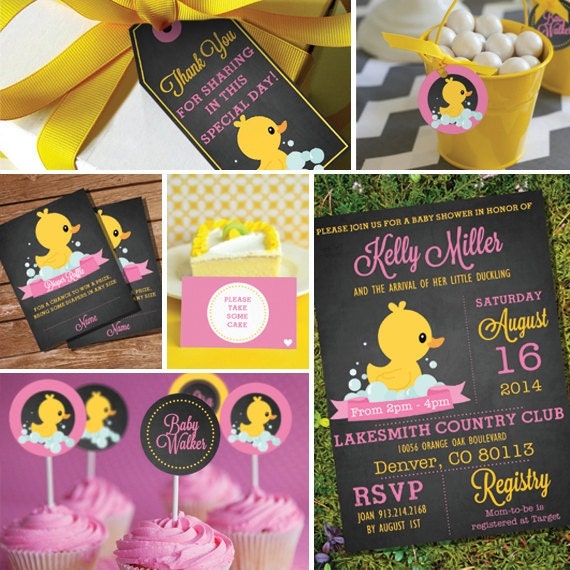 chalkboard rubber duck baby shower theme girl baby shower, Baby shower invitation