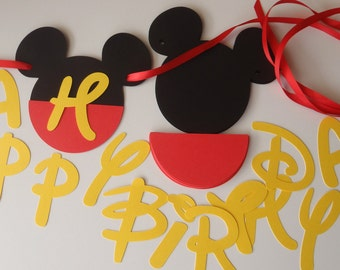 DIY Mickey Birthday Banner with Fancy Font and Optional Custom Name and FREE GIFT by FeistyFarmersWife