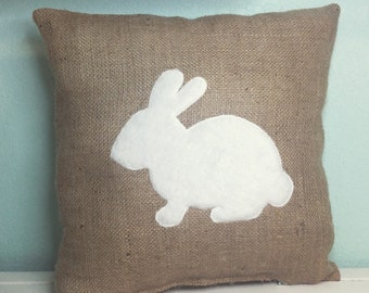 Burlap Spring Easter Bunny Pillow