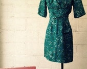 1950s Silk Teal Wiggle Pinup Dress by Kay Allison for White and Sklar, sz M