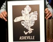 Asheville, North Carolina Neighborhood Screen Print Map Art