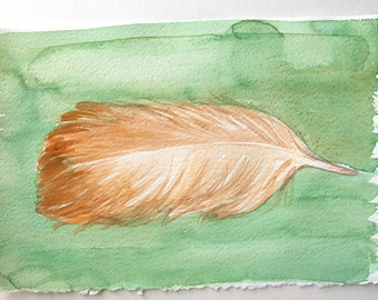 Green ocher feather painting. Watercolor painting. Feather illustration.