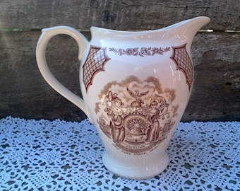"Pitcher, Vintage Alfred Meakin Fairwinds, Brown Transferware, 7"" tall, English, NY State Seal, Water Pitcher, Serving, Large Pitcher"