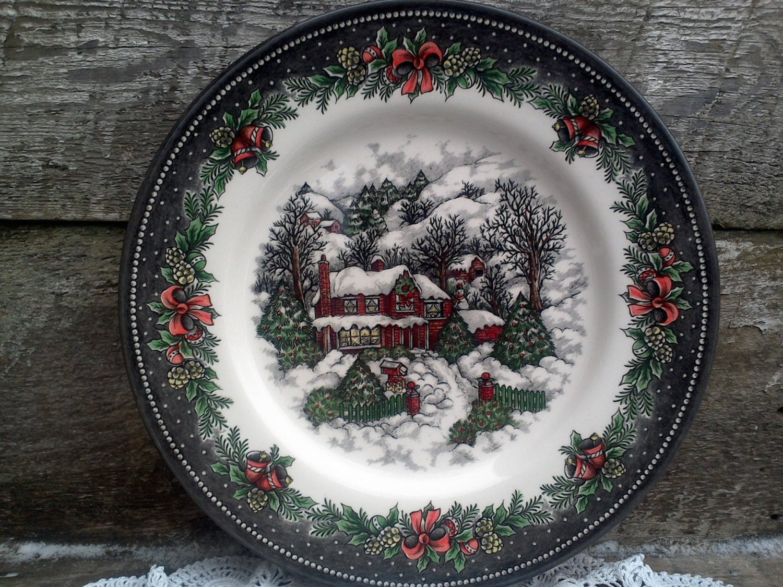 Set of 4 Royal Stafford Christmas Village Soup//Cereal bowls