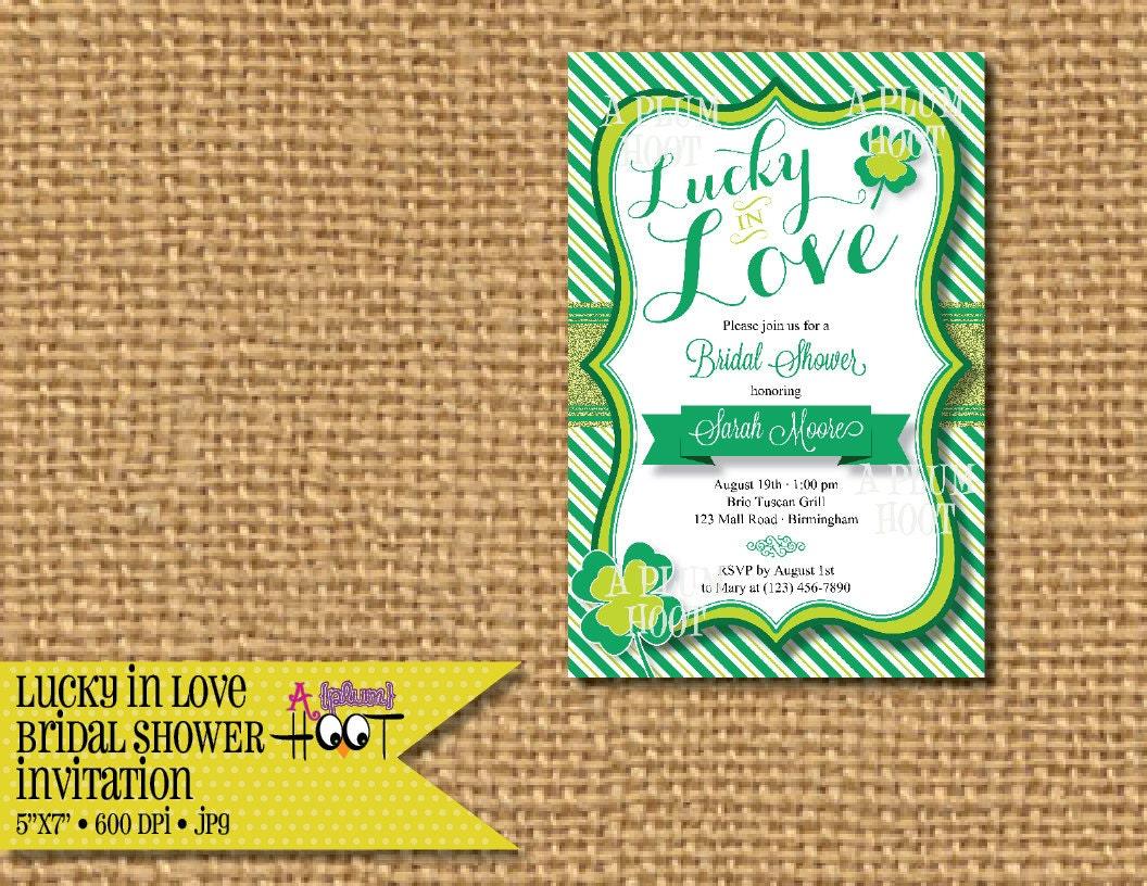 Lucky In Love Briday Wedding Shower Invitation 5x7 DIY
