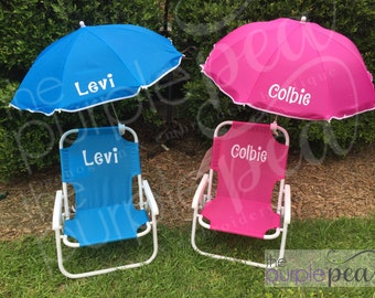 Easter 2017, Monogrammed Beach Chair, Monogrammed Kid's Beach Chair w/ umbrella