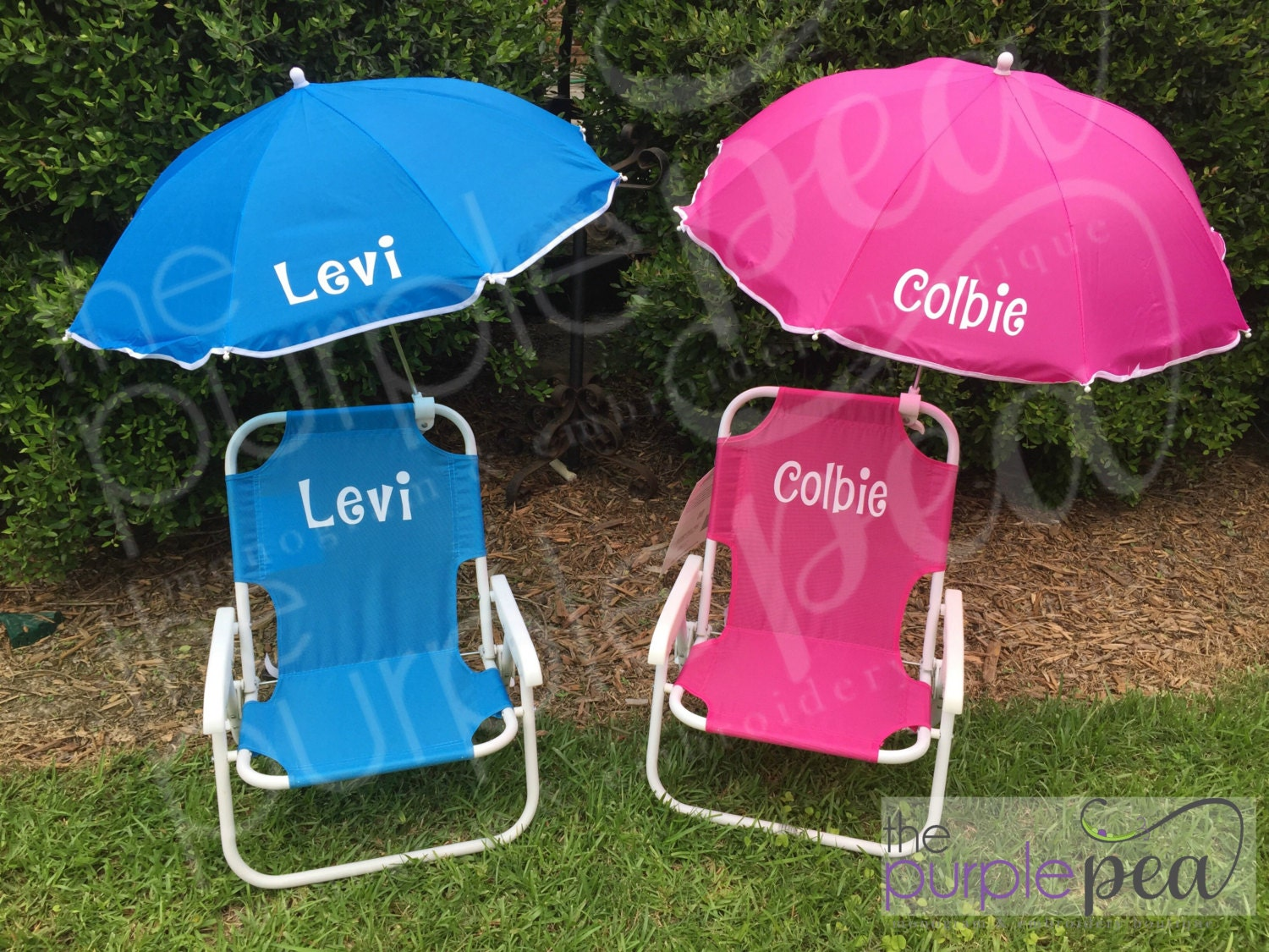 Monogrammed Kid s Beach Chair w umbrella
