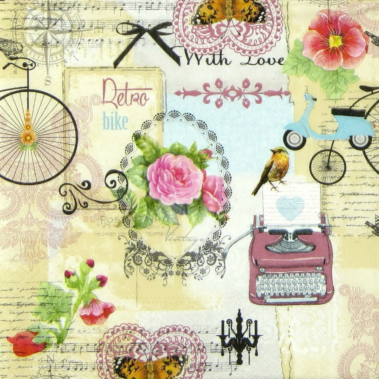 2 French Paper Napkins For Decoupage Mixed Media Collage