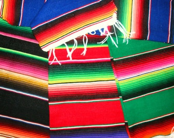 Table Runners Mexican Serape Cloth - Lots of colors and styles - Ready-made party now and for years to come